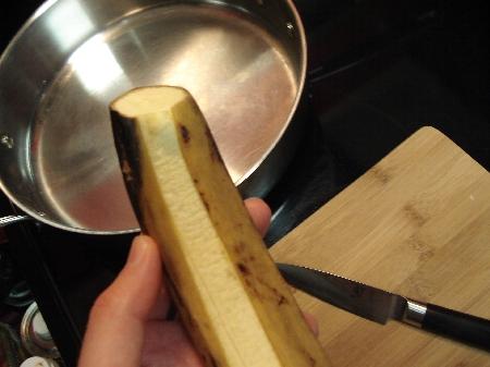 Peeling a plantain